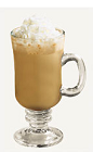 The Spiced Coffee drink recipe is a brown colored dessert cocktail made from Burnett's pumpkin spice vodka, coffee, cream and whipped cream, and served in a warm Irish coffee glass.