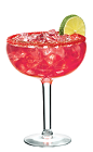 The Superfruit Margarita is a red colored cocktail made from Lunazul reposado tequila, PAMA pomegranate liqueur, Veev acai liqueur, sweet & sour mix and lime juice, and served over ice in a chilled margarita glass.
