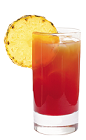 The Tequila Sunburst drink recipe is made from Lunazul reposado tequila, cranberry juice, pineapple juice and lemon juice, and served over ice in a highball glass.