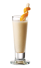 The Tuaca Cream Punch is a cream colored shot made from Tuaca vanilla citrus liqueur, heavy cream, vanilla liqueur, cayenne pepper and agave nectar, and served in a tall shot glass.