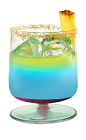 The Upside Down Hpnotiq is a blue drink made from Hpnotiq liqueur, vodka, pineapple juice and grenadine, and served in a rocks glass.