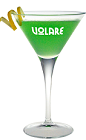 The Volare Apple Martini drink recipe is a green colored cocktail made from Volare Sour Apple liqueur, vodka, apple, lime juice and simple syrup, and served in a chilled cocktail glass garnished with a lemon twist.