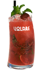 The Raspberry Mojito is a red colored drink recipe made from raspberry liqueur, white rum, mint, sugar, raspberries and club soda, and served over ice in a highball glass.