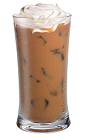 The Whipped Iced Latte drink is made from Kahlua coffee liqueur, whipped vodka, milk and chilled coffee, and served over ice in a highball glass.