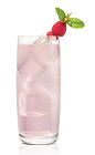 The White Greyhound drink is made from Stoli White Pomegranik vodka, pink grapefruit juice, lemon juice and simple syrup, and served over ice in a highball glass.