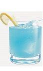 The Will Rogers cocktail recipe is a blue colored drink made from Burnett's gin, orange juice, dry vermouth and blue curacao, and served over ice in a rocks glass.