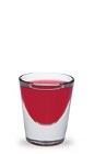 The Woo-Woo is a red shot made from peach schnapps, vodka and cranberry juice, and served in a chilled shot glass.