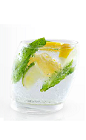 The Yeyo Mojito is a colorful drink made from Yeyo tequila, simple syrup, lime, lemon and mint, and served over ice in a rocks glass.