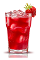 The Campari Splash is a red drink made from Campari, strawberry syrup and orange juice, and served over ice in a highball glass.