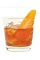 The Elderfashioned Traditional is an orange colored drink made from bourbon, St-Germain elderflower liqueur and bitters, and served over ice in an old-fashioned glass.
