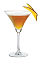 The Mango Cinntini is an orange cocktail made from Cinnaster cinnamon vanilla liqueur, mango vodka, orange and mango, and served in a chilled cocktail glass.