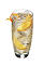 The Orange Majestic is made from orange vodka, simple syrup, bitters and club soda, and served over ice in a highball glass.