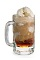 The Root Beer Freeze is a brown colored drink made from DeKuyper root beer schnapps, vanilla ice cream and cola, and served in a large mug.