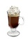 The Ultimate Irish Coffee drink is made from Bailey's Irish cream, Irish whiskey, hot coffee and whipped cream, and served in an Irish coffee glass.